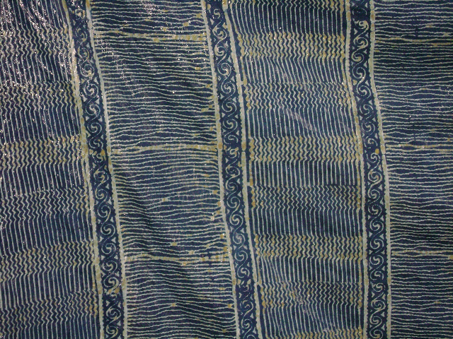Wax-resist indigo-dyed silk sari at Aranya, Bangladesh, 2006. Photo by Mary Lance