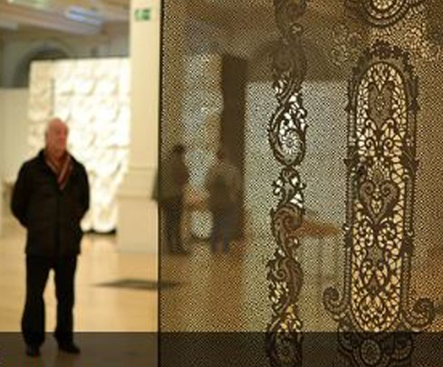 """Installation view with work of Piper Shepard in foreground, """"Lost in Lace"""" exhibition at Birmingham Museum and Art Gallery 2012. Photo by Deborah Cardinal. Used by permission."""