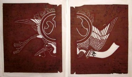 A stencil for a maiwai (fisherman's coat). It is divided to take into account the central seam of the garment. May 25, 2012 entry in the Daily Japanese Textile blog. Photo courtesy of the collection's owner and blog originator.