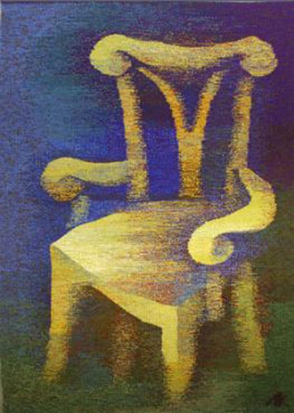 """Anna Kocherovsky """"The Chair"""" 40"""" x 28"""" Tapestry. Photo courtesy of the artist."""
