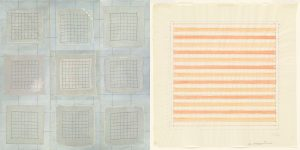 """Meg Pierce White Handkerchiefs (2016) Vintage handkerchiefs, crochet threads, pastel, acrylic on canvas, 40 x 40"""" Juxtaposed with Agnes Martin Untitled (1978) Watercolor and colored ink on transparentized paper"""