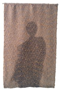 Marci Rae McDade Waiting, Synthetic and natural yarns, basic weave with brocade, handwoven, 25″ x 15.5″ (2007)