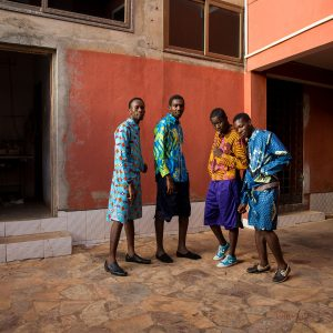 "Toril Johannessen collaboration with HAIK Fashion Collective ""Unlearning Optical Illusions (SS17 Collection)"" 2016, textile designs by Toril Johannessen, clothing designs by HAiK, 2016. Photo shoot with textile factory workers in Ghana, West Africa. Photos: Nii Odzenma."