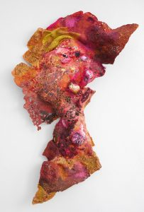 "Susan Hotchkis Rust-rose 2016, felt, voile, paper, silk, digitally printed satin, wadding, machine embroidery, trapunto quilting, 37"" x 25"" x 2"". Photo: Susan Hotchkis."