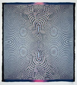 "Janice Lessman-Moss #446 2015 cotton, wool, digital jacquard design, power loom woven, handmade felt, 73"" x 66.5""."