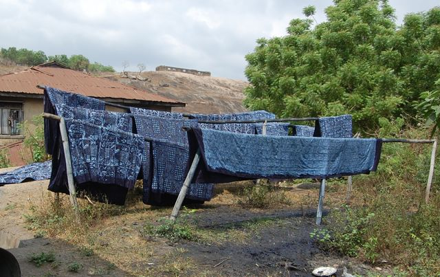 Adire indigo textiles, Abeokuta, Nigeria, 2010. Photo by Mary Lance
