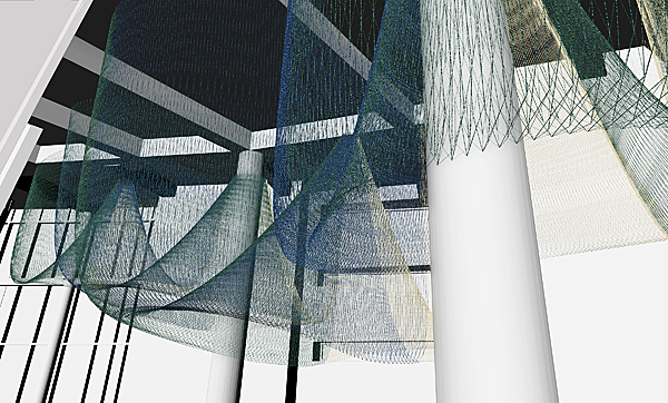 Janet Echelman Computer rendered drawing of her Matthew Knight Arena project in progress for the University of Oregon in Eugene. CREDITS: Studio Echelman Team: Drew Raines and Becky Borlan (Project Managers, Daniel Lear (Design Support).