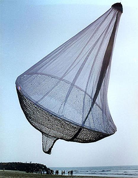 "Janet Echelman ""Wide Hips"" 1997, 83"" x 52"" x 52"", cast bronze, sewn otton net, hand-knotting. Photo courtesy Janet Echelman"
