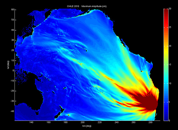 National Oceanic and Atmospheric Administration (NOAA) simulation of the tsunami that followed the 2010 earthquake in Chile, which shortened the length of the earth's day by 1.26 microseconds.