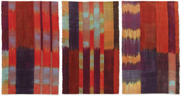"Ann Roth ""Leap Year"" 2012 134"" x 64"" Cotton: shibori warp, ikat weft; hand dyed and hand woven. Photo by Doug Van De Zande"