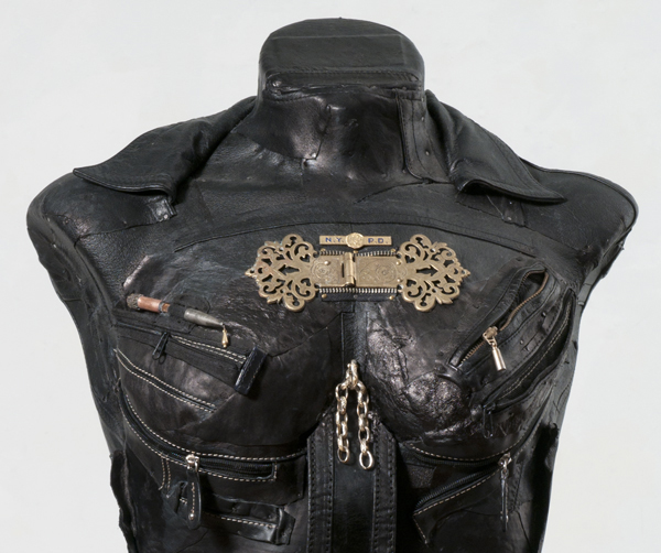 """Linda Stein """"MascuFem 681"""" Detail, leather, metal, mixed media,36"""" x 18"""" x 16"""", 2010. Photo: D. James Dee."""