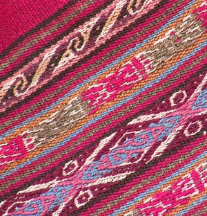 Detail of a naturally-dyed, handpicked design, woven on a backstrap loom from Chinchero, Peru, 2009. Photo: Marilyn Murphy.