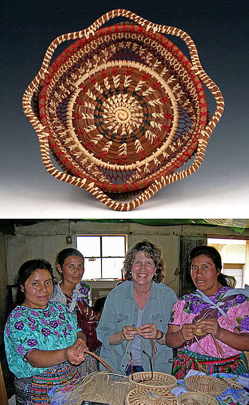 ABOVE: A butterfly basket designed by the women of Xeabaj, Guatemala, after Michele Hament's 2010 basketry workshop. BELOW: Michele Hament's basketry workshop in El Adelanto, Guatemala, 2006.