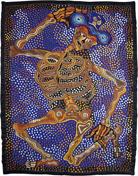"""Natividad Amador """"Untitled"""" Traditional hook-tambour embroidery on fabric, 33.9"""" x 25.6"""", 2010. Drawing by Arnulfo Mendoza. Featured in the 2011 Museo Textil de Oaxaca, Mexico, exhibition """"Pinthila Bordados de Natividad Amador en relacio?n a otros artistas."""" Photo: Jaime Rui?z Marti?nez."""