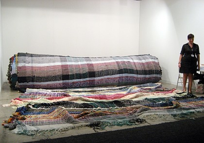 "Michael Beutler ""Alternative Carpet"" Mixed media, textiles, woven, 2009. Shown at Franco Soffiantino Gallery, Turin, Italy, at Art Basel Miami Beach, 2009. Photo: Joanne Mattera."