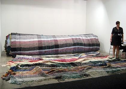 "Michael Beutler ""Alternative Carpet"" Mixed media, textiles, woven, 2009. Shown at Franco Soffiantino Gallery, Turin, Italy, at Art Basel Miami Beach, 2009. Photo: Joanne Mattera."
