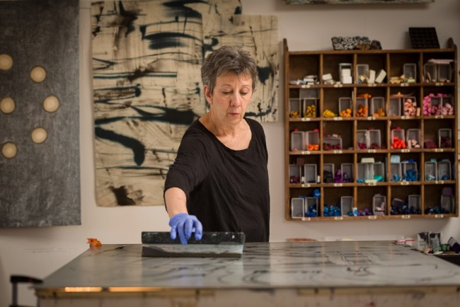 Roland_encaustic_ 1. Paula Roland, arranging molten wax until image is completed for printing