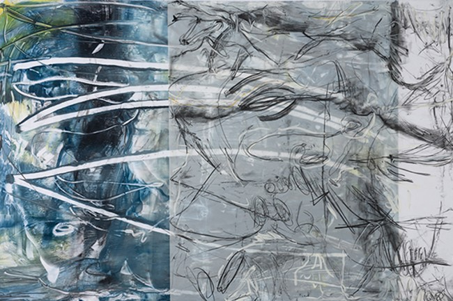 Roland_encaustic_8. Paula Roland, Welcoming Choas, 2013, encaustic monotype:graphite drawing on layered mylar