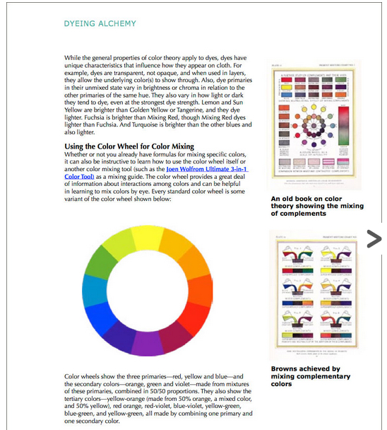 Franklin Dyeing Alchemy page 20 color wheel