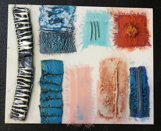 11. McDade_Encaustic_Susan Lasch Krevitt encaustic and textile samples_12