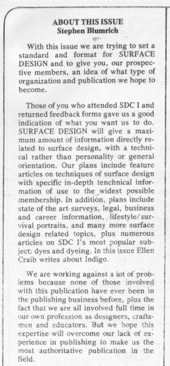 Blumrich letter first SDA newsletter issue