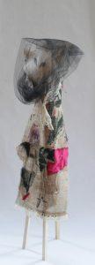 Grandmother Wolf (2016) Wood, burlap, paint, satin, felt, veil
