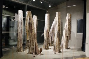 Molly Koehn and Madison Creech Potentially Invasive, Probably Harmful Installation at Tempe Center for the Arts, Tempe, AZ Eucalyptus eco-printed raw silk, screen print, eucalyptus stumps, dowels, pdf, vinyl