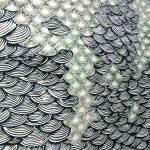 Surabhi Ghosh A Hair's Breath, the Unfurled Sea (detail) Cotton cloth, tencel yarn, textile ink, thread