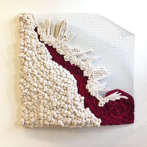 "Adrienne Sloane Crossing Over (2015) Cotton i-cord & screen, 36"" x 36.5"" x 2"""