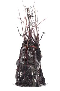 "Ellen Solari By the Side of the Road #2 (2014) Man-made found objects, wire, jute, dogwood branches, reed, yarn, fabric, 35"" x 9"" x 8"" (Juror's Award winner)"