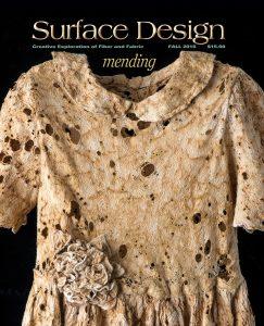"""Mending"" Surface Design Association Fall 2016 Edition Cover Image: Julie Sirek ""Please, Daddy Stop"" (detail) 2015, hanji, thread, joomchi, rust staining, machine stitching, 27""x1.5""x2"". Photo: Rik Sferra."