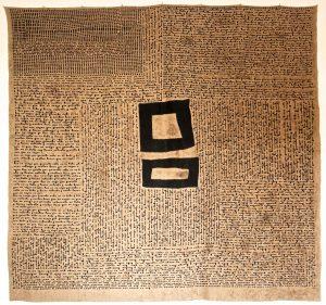 Amparo de la Sota Spain Letter 2016, linen, cotton, ink embroidery, I58 x 150 cm.