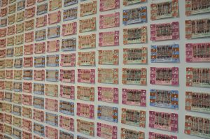 Claire Barber You Are the Journey, An Embroidered Intervention 2016, ferry tickets, needle weaving.
