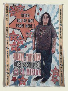 "Vic De La Rosa Mickey 2015, coned cotton yarn, industrial jacquard tapestry, 60"" x 44""."