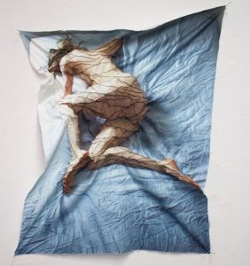 """Meghan Volpe What's Next 2016, digital printed cotton, invisible thread, hand-sewn running stitch, 30"""" x 24""""."""