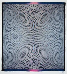 "Janice Lessman-Moss #446 2015 cotton, wool, digital jacquard design, power loom woven, handmade felt, 73"" x 66.5""."