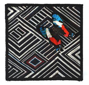 """B.J. Adams, """"Lost in A-Maze,"""" Textile, 10"""" x 10"""" x 1,"""" 2019, website: www.BJAdamsArt.com"""