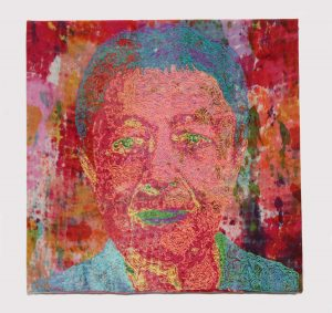 "Susan Avila, ""R.T.,"" Machine embroidery on recycled drop cloth, 10"" x 10"" x 1"", 2019: www.suta.com"