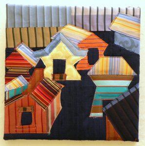 "Nancy Bardach, ""Spirit Houses,"" Silks, dupioni silk, batting, threads, canvas support, 10"" x 10"" x 0,"" 2019, website: NancyBardach.com"
