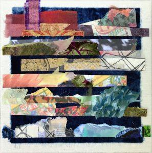 "Kirsteen Buchanan, ""Fragments,"" Mixed Media Collage: Fabric, Found Paper, Digital Photo, 10"" x 10"" x 1.5,"" 2019"