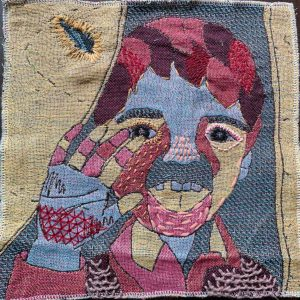 """Yining Chen, """"A boy from Moria camp,"""" 4-color weaving and hand stitching, 10"""" x 10"""" x 0.1,"""" 2019"""