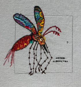 """Beth Cunningham, """"Aedes Albopictex(Tiger Mosquito),"""" Embroidery, applique, beading, quilting, """"10"""" x 10"""" x 1.5,"""" 2019, website: Bethcunninghamartist.com"""