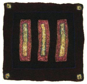 "Judith Daniels, ""One Day the Light Will Return,"" Fiber - Wet Felting, Hand and Machine Embroidery, 9.25 "" x 9.25"" x .1,"" 2019, website: www.judithmdaniels.com"