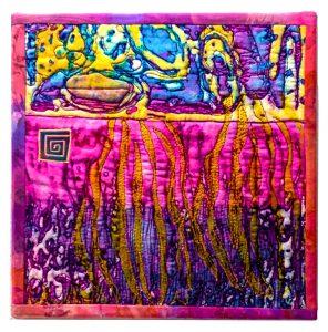"Janis Doucette, ""Eruption Breakdown,"" printed textile art, ""10"" x 10"" x 1,"" 2018, website: turtlemoonimpressions.wordpress.com"