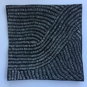 "Susan Doyle, ""Little White Lies,"" Stitching on black linen fabric, 10"" x 10"" x 1,"" 2019, website: www.susankathleendoyle.com"