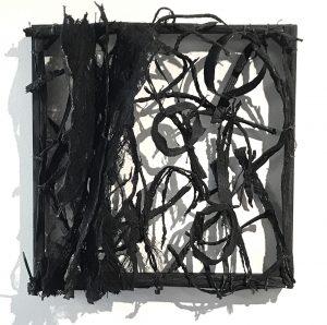 """Jennie Frederick, """"Shreds1, Rubber, Kozo, Steel, Wood, 10"""" x 10"""" x 5,"""" 2019, website: www.jenniefrederick.studio"""