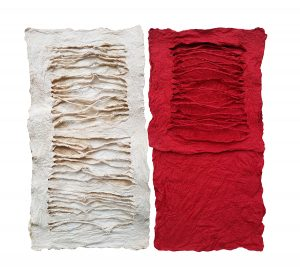 "Ania Gilmore, ""Made in Kraków No.1+3,"" Joomchi, Korean mulberry paper, 10"" x 10"" x 0.25,"" 2018, website: www.aniaartstudio.com"