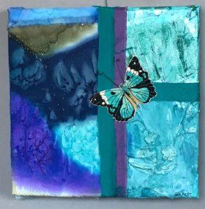 "Sandra Golbert, ""Fly Away Blue,"" Mixed media, 10"" x 10"" x 0,"" 2019, website:www.fiberarte.com"