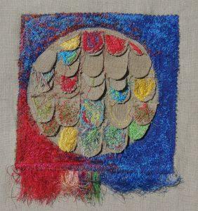 "Mimi Graminski, ""Her Father Turns 80,"" Machine embroidery, cut, stitched on raw linen, ""10"" x 10"" x 1,"" 2019, website: mimigraminski.com"