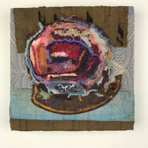 """Kate Russell Henry, """"Rondo. Allegro con brio,"""" Mixed Media Textile, Cloth, Paper, Fiber, Metal, 10"""" x 10"""" x 1.5,"""" 2019 , website: www.katerussellhenry.com"""